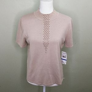 Alfred Dunner Beige Sweater with Copper Accents